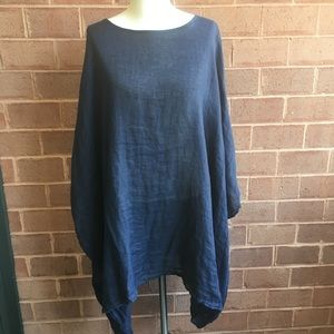 Sweaters - Navy Blue 100% Linen Poncho